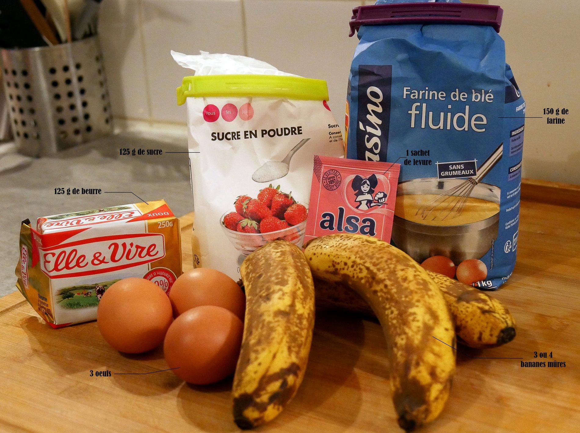 gateau banane ingrédients - juliesliberties
